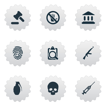 Vector Illustration Set Of Simple Police Icons. Elements Identification, M16, Touch Forbidden And Other Synonyms Bone, Stop And Syringe.