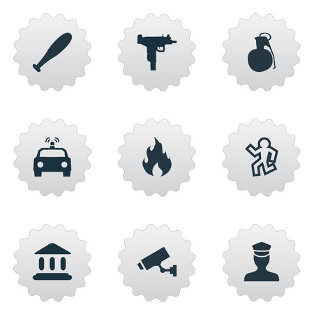 Vector Illustration Set Of Simple Crime Icons. Elements Sheriff, Police Car, Weapon And Other Synonyms Police, Baseball And Death.