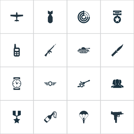 howitzer: Vector Illustration Set Of Simple War Icons. Elements Hero Reward, Radio Locator, Molotov And Other Synonyms Artillery, Scanner And Machine.