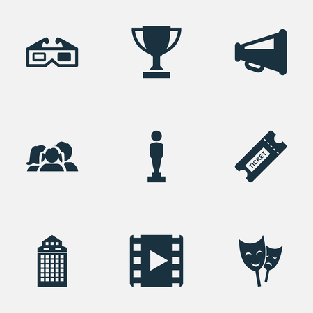 Vector Illustration Set Of Simple Movie Icons. Elements Megaphone, Oscar, Trophy And Other Synonyms Reel, Director And Family. Illustration