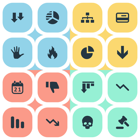 Vector Illustration Set Of Simple Crisis Icons. Elements Round Graph, Circular Diagram, Net And Other Synonyms Hammer, Date And Chart.