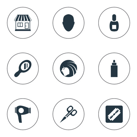 Vector Illustration Set Of Simple Beautician Icons. Elements Glamour Lady, Drying Machine, Supermarket And Other Synonyms Tube, Supermarket And Flask. Illustration