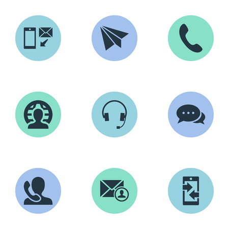 telephone icons: Vector Illustration Set Of Simple Contact Icons. Elements Telephone Switchboard, Aircraft, Earphone And Other Synonyms Plane, Arrows And Global.