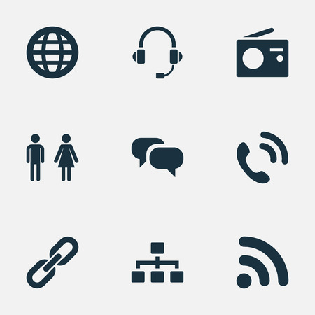 Vector Illustration Set Of Simple Social Icons. Elements Structure, Partner, Conversation And Other Synonyms Relationship, Connection And Microphone.
