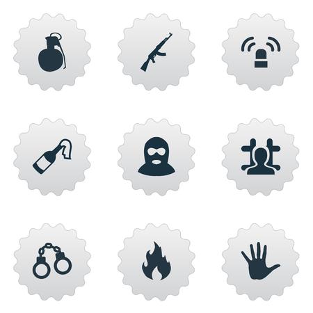 벡터 일러스트 레이 션 간단한 범죄 아이콘의 집합입니다. 요소 블레이즈, M16, 도둑 및 기타 동의어 폭탄, 불꽃 및 사슬.