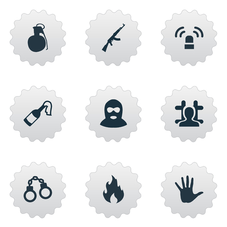 Vector Illustration Set Of Simple Crime Icons. Elements Blaze, M16, Thief And Other Synonyms Bomb, Flame And Chain. Illustration