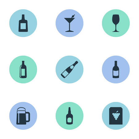 Vector Illustration Set Of Simple Drinks Icons. Elements Beverage, Cocktail, Cognac And Other Synonyms Whiskey, Pub And Beer. Illustration
