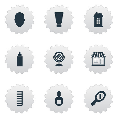 Vector Illustration Set Of Simple Barber Icons. Elements Bottle, Premises, Hackle And Other Synonyms Supermarket, Mirror And Container. Illustration