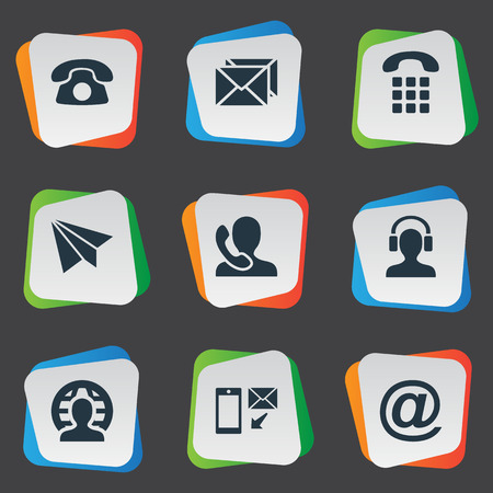 telephone icons: Vector Illustration Set Of Simple Connect Icons. Elements Telephone, Aircraft, House Phone And Other Synonyms Home, Plane And Calling. Illustration