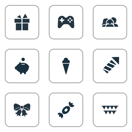 festal: Vector Illustration Set Of Simple Holiday Icons. Elements Money Pig, Decorations, Game And Other Synonyms Firework, Candy And Caramel.