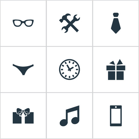 Vector Illustration Set Of Simple Instrument Icons. Elements Gift, Present, Mobile Phone And Other Synonyms Tool, Watch And Work. Illustration