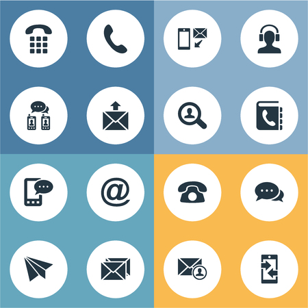 telephone icons: Vector Illustration Set Of Simple Contact Icons. Elements House Phone, Posting, Telephone And Other Synonyms Directory, Envelope And Home.