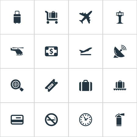 tv tower: Vector Illustration Set Of Simple Plane Icons. Elements Cigarette Forbidden, Flight Control Tower, Takeoff And Other Synonyms Card, Cart And Dollar. Illustration