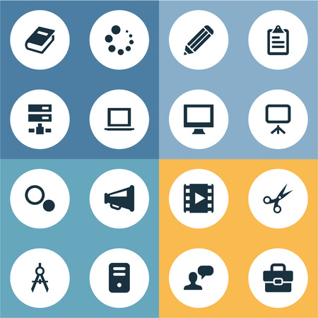 Ilustracin vectorial conjunto de iconos de iconos simples vector illustration set of simple icons icons elements circle compass bullhorn cut and malvernweather Choice Image