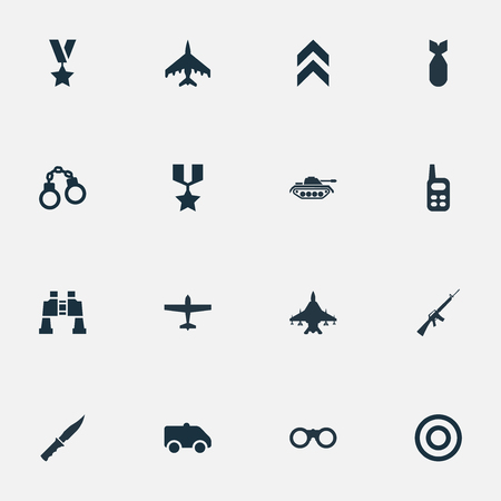 Vector Illustration Set Of Simple Terror Icons. Elements Binoculars, Heavy Weapon, Manacles And Other Synonyms Aviation, Machine And Telescope. Illustration