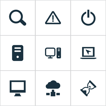 Vector Illustration Set Of Simple Laptop Icons. Elements System Unit, Cursor, Hourglass And Other Synonyms Processor, Power And Loading.