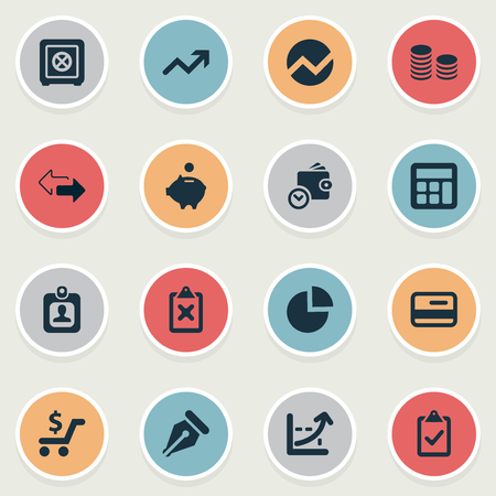 Vector Illustration Set Of Simple Finance Icons. Elements Increase, Segmentation, Strongbox And Other Synonyms Directions, Clipboard And Incorrect. Illustration