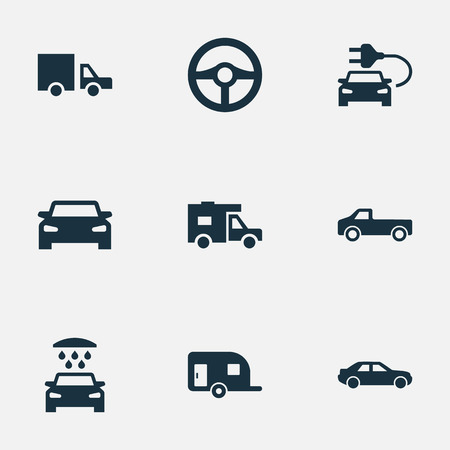 Vector Illustration Set Of Simple Auto Icons. Elements Caravan, Traffic, Car Charging And Other Synonyms Delivery, Electric And Sedan.