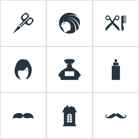 barbershop: Vector Illustration Set Of Simple Hairdresser Icons. Elements Glamour Lady, Premises, Hair And Other Synonyms Hair, Odor And Beard.