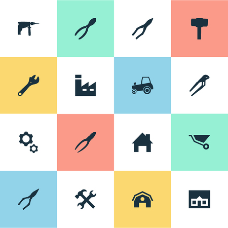 carried: Vector Illustration Set Of Simple Wrench Icons. Elements Cart, Home, Pliers And Other Synonyms Repair, Tool And Construction.