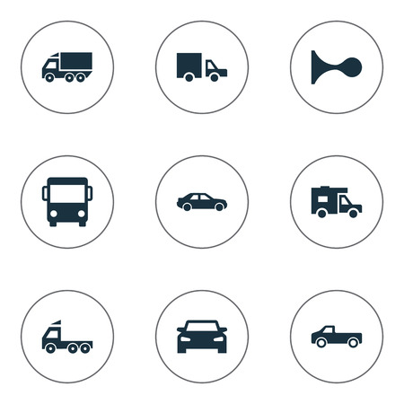 Vector Illustration Set Of Simple Transport Icons. Elements Van, Automobile, Camion And Other Synonyms Public, Carriage And Van.