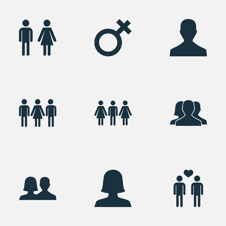 Vector Illustration Set Of Simple Lovers Icons. Elements Double, Dissolve The Marriage, Alternative And Other Synonyms Spouse, Pair And People. Illustration