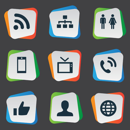 Vector Illustration Set Of Simple Network Icons. Elements Member, Telly, Wave And Other Synonyms Telly, Global And User. Ilustração