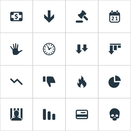 impasse: Vector Illustration Set Of Simple Impasse Icons. Elements Bar Graph, Tribunal, Bankroll And Other Synonyms Palm, Circular And Cursor.