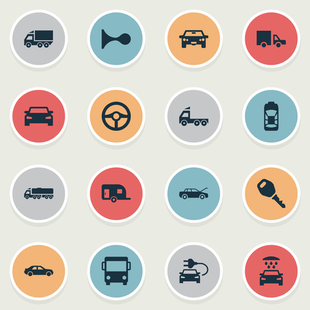 Vector Illustration Set Of Simple Automobile Icons. Elements Klaxon, Repairing Service, Camion And Other Synonyms Steering, Shower And Key. Illustration