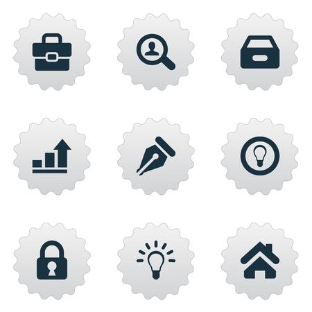 Vector Illustration Ensemble d'icônes de commerce simple. Elements Nib, Home, Dossier et autres synonymes Mind, Increase and Protected. Banque d'images - 74239030