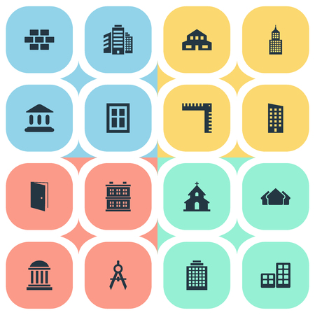 Vector Illustration Set Of Simple Architecture Icons. Elements Popish, Length, Glazing And Other Synonyms Building, Windows And Ruler. Illustration