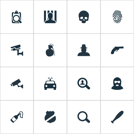 Vector Illustration Set Of Simple Police Icons. Elements Explosive, Identification, Safety And Other Synonyms Bat, Grenade And File. Illustration