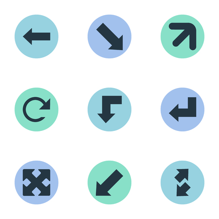 Vector Illustration Set Of Simple Indicator Icons. Elements Left Direction, Right-Up, Crossed Arrows And Other Synonyms Arrow, Direction And Refresh.