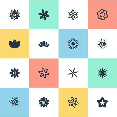 Vector Illustration Set Of Simple Flower Icons. Elements Peony, Bloom, Helianthus And Other Synonyms Marguerite, Marigold And Sweet Pea. Illustration