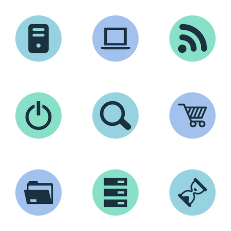 Vector Illustration Set Of Simple Computer Icons. Elements Wave, Hourglass, Data Center And Other Synonyms Power, System And Hardware. Illustration