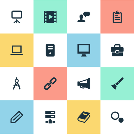 Vector Illustration Set Of Simple Design Icons. Elements Settings, Circle Compass, Bullhorn And Other Synonyms Lantern, Device And Bullhorn.
