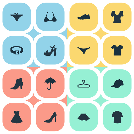 Vector Illustration Set Of Simple Dress Icons. Elements Attire, Brasserie, T-Shirt And Other Synonyms Protect, Hanger And Top. Stok Fotoğraf - 74239111