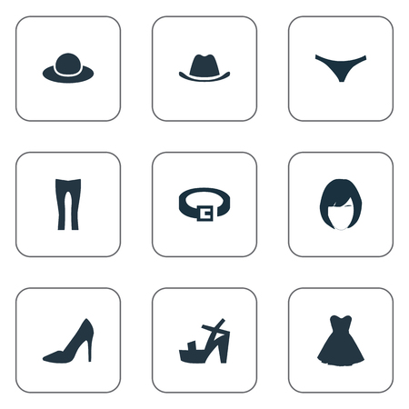 Vector Illustration Set Of Simple Dress Icons. Elements Attire, Lingerie, Head Accessory And Other Synonyms Headgear, Accessory And Cloth.