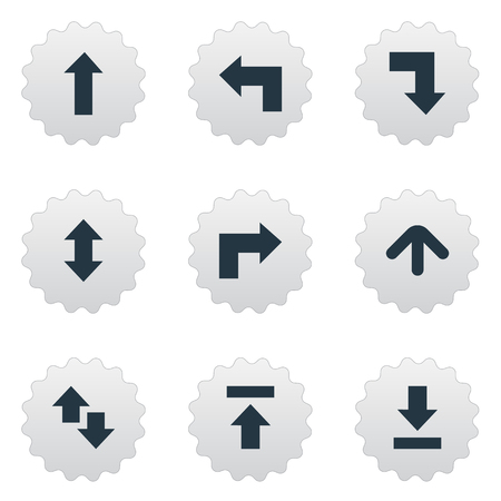 signing papers: Vector Illustration Set Of Simple Cursor Icons. Elements Upwards-Downwards, Right Leading Arrow, Transfer And Other Synonyms Raising, Upward And Right.