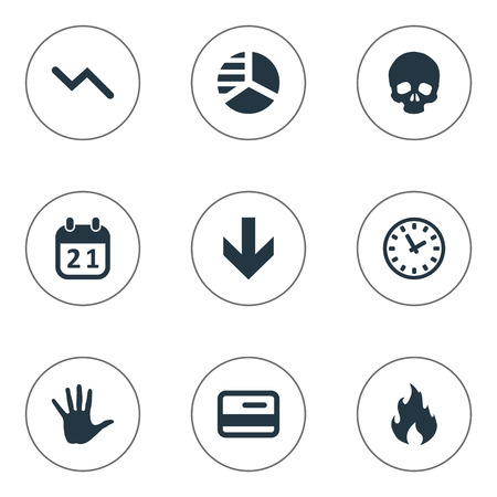 Vector Illustration Set Of Simple Impasse Icons. Elements Plastic Card, Fire, Down Cursor And Other Synonyms Skull, Head And Plastic. Çizim