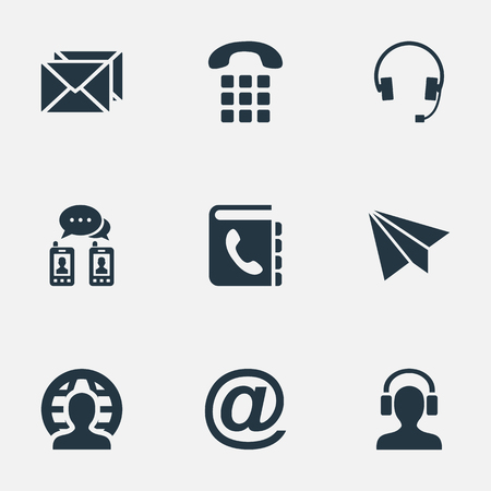 earpiece: Vector Illustration Set Of Simple Connect Icons. Elements Earphone, Correspondence, Earpiece And Other Synonyms E-Mail, Headphones And Global.