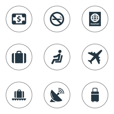 Vector Illustration Set Of Simple Plane Icons. Elements Seat, Handbag, Certificate Of Citizenship Synonyms Passport, Antenna And Citizenship.