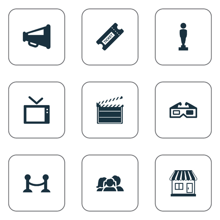 Vector Illustration Set Of Simple Cinema Icons. Elements Pass, Television, Action And Other Synonyms Loudspeaker, Review And Movie.