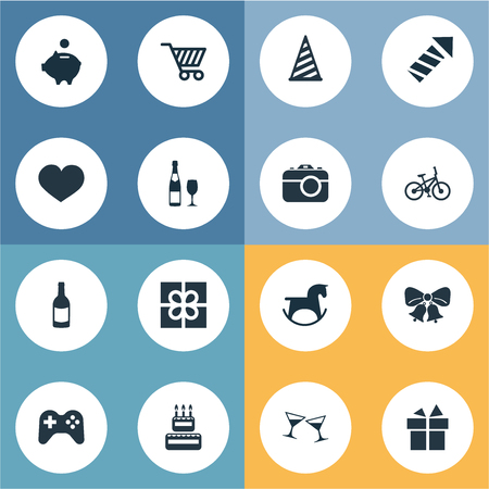 Vector Illustration Set Of Simple Holiday Icons. Elements Celebrating, Salute, Resonate And Other Synonyms Rocket, Cake And Sweetmeat.
