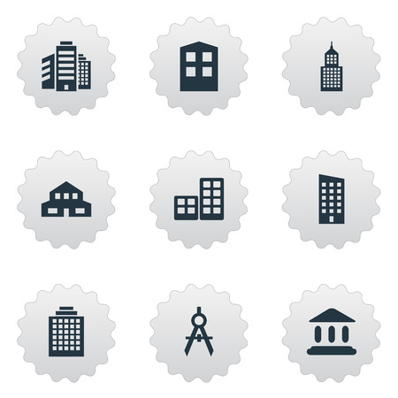 Vector Illustration Set Of Simple Structure Icons. Elements Engineer Tool, Superstructure, Flat And Other Synonyms Offices, Realty And Architecture. Illustration