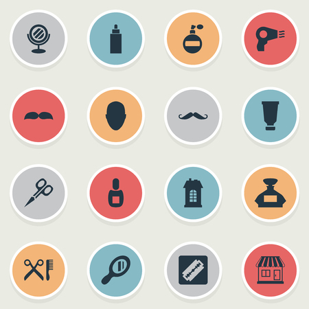 Vector Illustration Set Of Simple Hairdresser Icons. Elements Container, Barber Tools, Aroma And Other Synonyms Reflector, Container And Man.