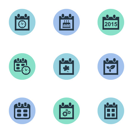almanac: Vector Illustration Set Of Simple Date Icons. Elements Date, Leaf, Event And Other Synonyms Almanac, Gear And Date.