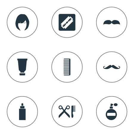 Vector Illustration Set Of Simple Hairdresser Icons. Elements Whiskers, Shaver, Container And Other Synonyms Bottle, Whiskers And Hackle.