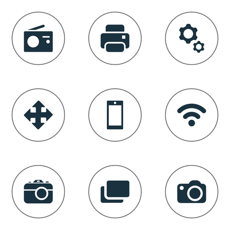 Vector Illustration Set Of Simple Device Icons. Elements Wireless Connection, Tuner, Smartphone And Other Synonyms Branch, Radio And Photocopier. Ilustrace