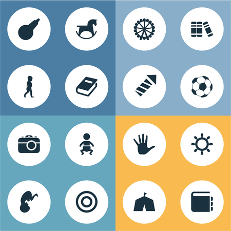 Vector Illustration Set Of Simple Baby Icons. Elements Clyster, Dictionary, Fetus And Other Synonyms Enema, Unborn And Palm.